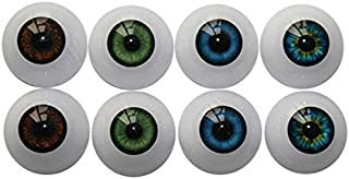 UUsave 4 Pairs of 4 Colors 22mm Half Round Realistic Acrylic Eyes for Halloween Props, Masks, Dolls or Bears Craft Plastic Eyeballs (22mm)