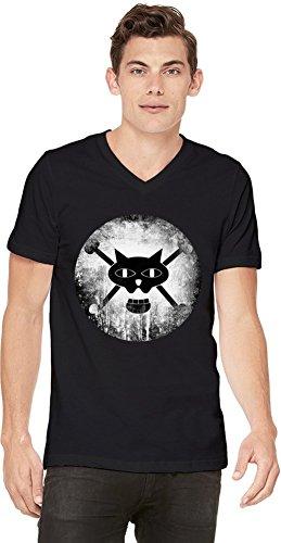 Black Cat Pirates Logo T-shirt col V pour hommes Small
