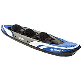 Sevylor Big Basin 3-Person Kayak , Blue 2 Heavy-duty PVC construction is rugged for lake use Tarpaulin bottom provides durable protection from punctures Multiple air chambers allow another chamber to stay inflated if one is punctured