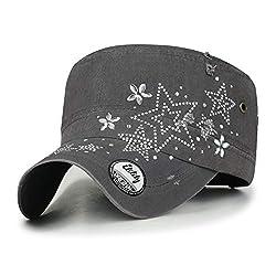 Crystal Gemstone Stud Star Charcoal Grey Cotton Cadet Cap