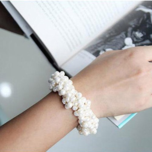 Casualfashion 3Pcs Fashion Korean Hair Accessories Beaded Elastic Hair Ties for Women Girls Pearls Hair Bands Rope