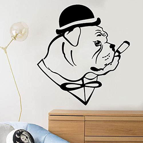 Decors Girls45Cm*50Cm leuk Engels Bulldog hond in hoed Gentleman sigaar muur Sticker Decor PVC