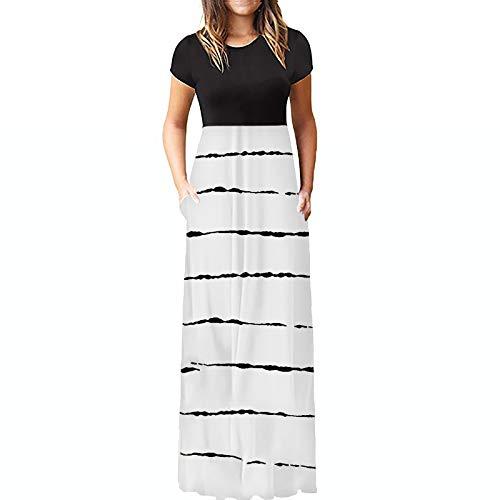 Yowablo Kleid Damen Mode O-Ausschnitt Farbverlauf Kurzarm Spaghetti Maxikleid (L,1weiß)