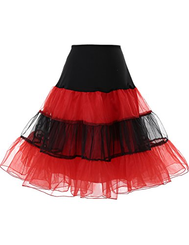 DRESSTELLS 1950 Petticoat Reifrock Unterrock Petticoat Underskirt Crinoline für Rockabilly Kleid Black-Red L