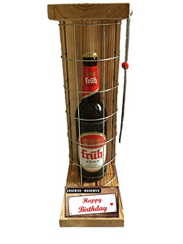 Happy Birthday Die Eiserne Reserve mit Früh Kölsch 0,50L incl. Säge zum zersägen des Gitter - Männer Geschenk - Frauen Geschenk