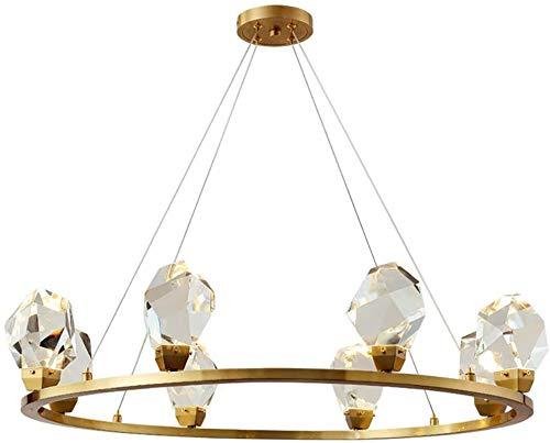 LED Modern Light Light Foxxture, LED 56W Moderno cristal araña anillo forma latón marco comedor comedor colgante luz 8 luces altura ajustable colgante lámpara cristal luz cocina lámpara lámpara sala d