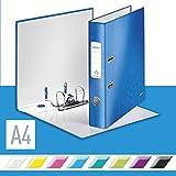 Leitz 10060036 Qualitäts-Ordner (A4, 5,2 cm Rückenbreite, Graupappe mit laminierter Oberfläche, WOW) blau glänzend