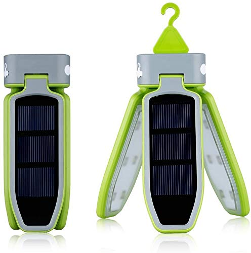 J & J Collapsible Clover Style 18 Led Camping Tent Lantern Lighting Lights Flashlight Rechargeable Battery Powered By USB Charging And Solar Panel
