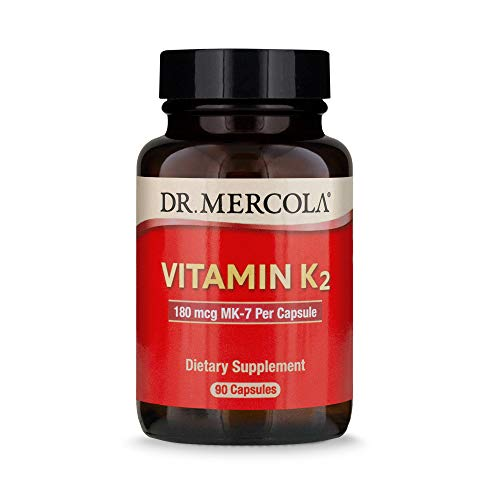 Dr. Mercola Vitamin K2 Dietary Dietary Supplement, 90 Servings (90 Capsules), Supports Bone and Cardivascular Health, Non GMO, Soy Free, Gluten Free