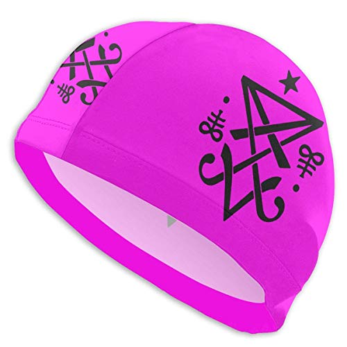 HFHY Occult Sigil of Lucifer Satanic Adult Summer Beach Swim Caps for Men Women Unisex