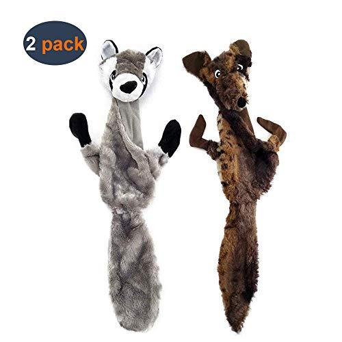 Aidiya Lot de 2 Jouets sonores en peluche, pour chiens, jouets plissés à mâcher durables pour chiens de moyenne et grande taille, modèle loup et raton laveur
