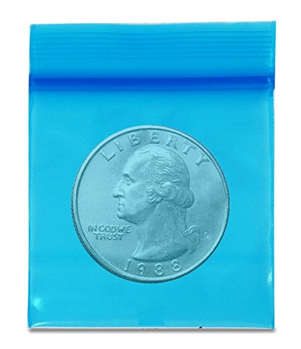 "(1000 Blue) Apple -- 2.5 Mil -- Mini Ziplock Baggies , #1515 Recloseable Bags 1.5"" x 1.5"""