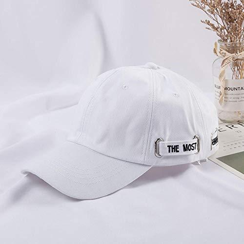 Honkbal Cap Vrouwelijke Lente en Herfst Wild Casual Trendy Heren Cap Zonnescherm Zonnehoed Vrouw adjustable Kleur: wit