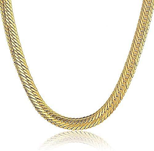 NC190 Cadena de Oro de Hiphop para Hombres, Collar de Cadena de Hip Hop, 8 mm, Collares de Cadena Larga de Color Dorado, joyería para Hombres, 63 cm