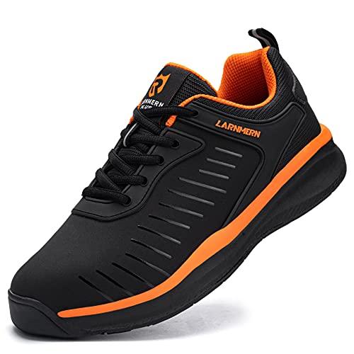 LARNMERN Zapatillas de Running para Hombre Ligero Transpirable Zapatos para Correr y Asfalto Aire Libre y Deportes Calzado(Naranja 40)
