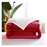 KAISUN Baumwolldecke, Mikrofaser Flanell Bettüberwurf TV-Decken, Pflegeleicht, für Camping, Flugzeugreisen, Segeln, Terrasse und (Color : Red, Size : 200×230 cm)