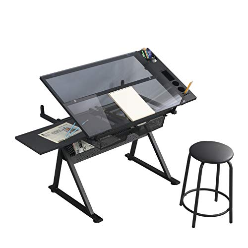 YZG LIFE Height Adjustable Drafting Table Draft/Drawing/Art Table, Up to 75° Tiltable Glass Tabletop, Art Desk w/2 Storage Drawer and Stool, Painting Work Station Artist Table for Home Office School