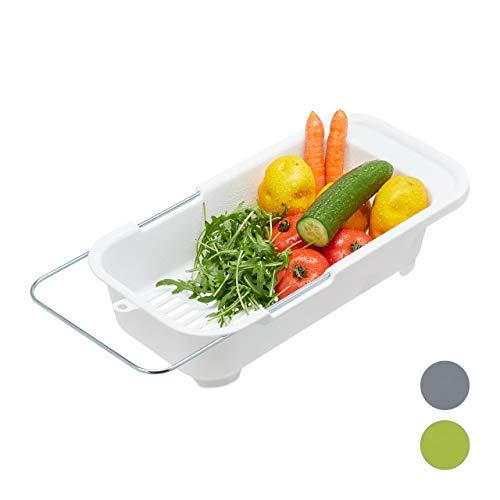Relaxdays 10027970_49 Escurridor Fregadero, Colador Cocina, Fruta y Verdura, Ajustable, Plástico-Hierro, 1 Ud, hasta 57 cm, Blanco