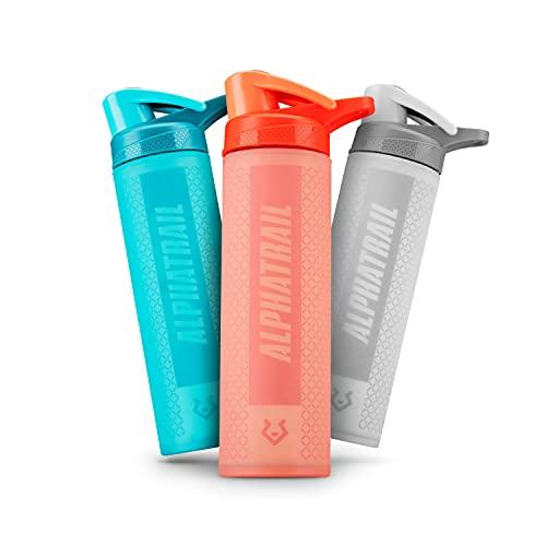 Alphatrail Botella Agua Cristal Scott 600ml Naranja I A Prueba de Golpes y Antideslizante Gracias a la Cubierta de Silicona 100% Prueba de Fugas I sin BPA I Óptima hidratación Durante el Deporte
