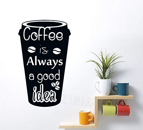 Mok bonen muursticker afneembare keuken afspraak koffie is altijd een goed idee muur afspraak venster decoratie 42 x 69 cm muursticker