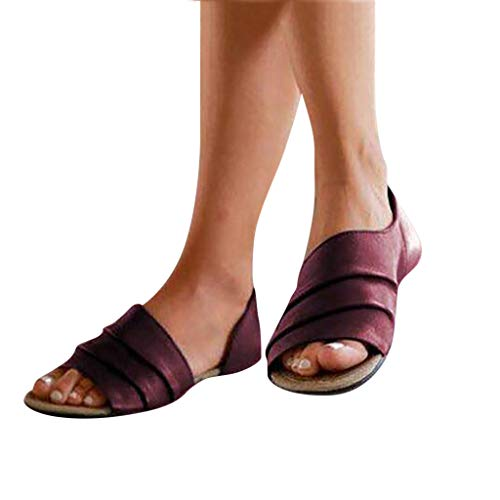 Best Deals! Meigeanfang Fashion Women Flats Casual Summer Shallow Mouth Peep Toe Roman Sandals for W...