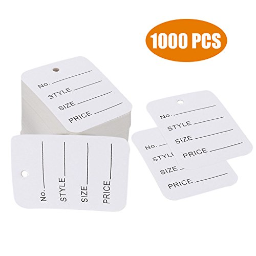 1000 PCS Price Tags, Clothes Size Tags Coupon Tags Making Tag White Store Tags Clothing Tags, 1.94' X 1.38'