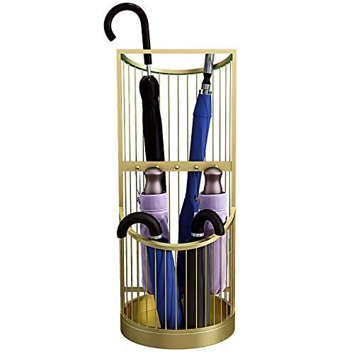 MYLW Paragüeros Metálico Paragüero Estante con 5 Ganchos Y Bandeja De Goteo, Interior/Exterior Ahorro De Espacio Organizador De Soporte De Paraguas para Oficina En Casa Puerta Frontal (Color : Gold)