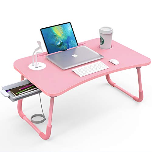 Laptop Bed Table with USB Port, Elekin Portable Bed Tray, Lap Desk with Drawer/Cup Holder for Eating, Writing, Reading, Working on Bed/Couch/Sofa with Little Gift (Small Lamp, Small Fan)-Pink