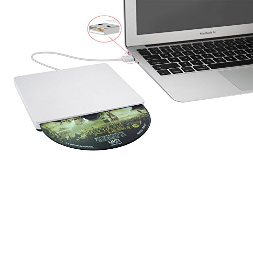 SLOT-IN USB Super Drive Aluminium Externes DVD/CD RW DVD ROM Laufwerk Writer Brenner für Macbook Pro/Air/iMac/Mac mini/Mac Pro silber silber 13.8x13.8x1.6cm