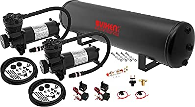 Vixen Air Suspension Kit for Truck/Car Bag/Air Ride/Spring. On Board System- Dual 200psi Compressor, 5 Gallon Tank. for Boat Lift,Towing,Lowering,Load Leveling,Bags,Onboard Train Horn VXO4852DB
