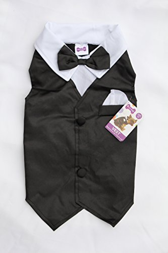 Dog Tuxedo Vest Wedding Party Outfit Costume for Small and Medium Dogs (Small)