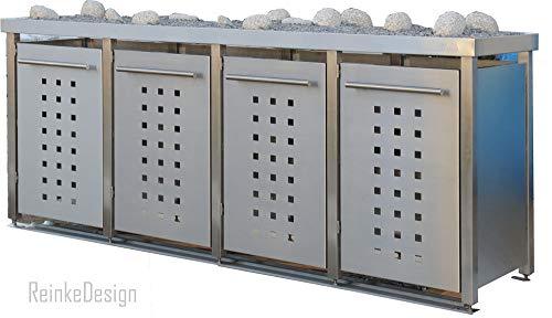 Edelstahl Mülltonnenbox mit Pflanzenwanne für 4 Tonnen 240L (MW2222T). Mülltonnenhaus, Mülltonnenverkleidung