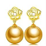 WTPUNGB Rosenohrring 10-11mm natürliche kultivierte Südsee Perlen Tropfen Ohrringe feiner SchmuckGold