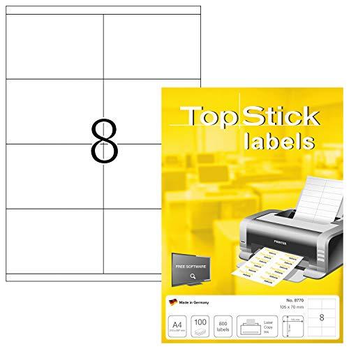 TopStick 8770 Universal Etiketten DIN A4 groß (105 x 70 mm, 100 Blatt, Papier, matt) selbstklebend, bedruckbar, permanent haftend Adressaufkleber, 800 Klebeetiketten, weiß