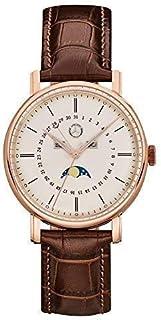 Mercedes-Benz Reloj de pulsera clásico para hombre, acero inoxidable en oro rosa y piel de becerro, 41 mm