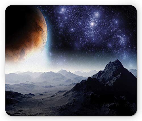 Ambesonne Outer Space Mouse Pad, Science Fiction of Galaxy Nature Milkyway Atmosphere Planet Abstract, Rectangle Non-Slip Rubber Mousepad, Standard Size, Purple Black Orange