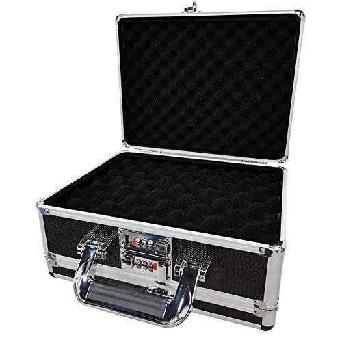 "Gun Security Safe Cabinet, Dual Pistol Firearm and Valuables Safe with 3 Digits Combination Lock, Portable Aluminum Framed Gun Lock Box, Measures 11.81"" x 5.91"" x 9.05"" (Black)"
