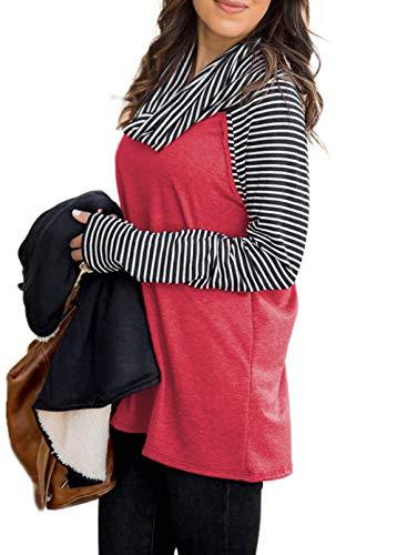 FOBEXISS Bloque de Color Cuello de la Capucha Camiseta de Manga Larga con Rayas Pullover Costura de la Mujer