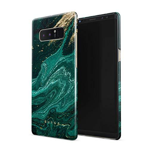 BURGA Hülle Kompatibel mit Samsung Galaxy Note 8 - Handy Huelle Grün Smaragd Juwel Marmor Muster Emerald Green Gold Marble Mädchen Dünn Robuste Rückschale aus Kunststoff Handyhülle Schutz Hülle Cover