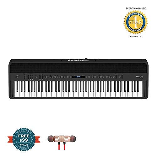 Best Bargain Roland FP-90 88-Key Digital Piano (Black) includes Free Wireless Earbuds - Stereo Bluet...