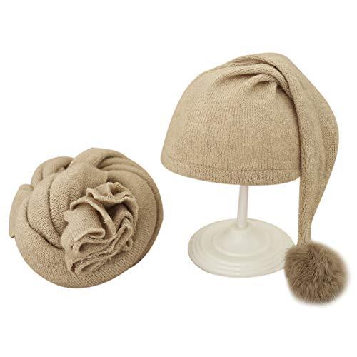 2 Piezas Accesorios de Fotografía para Bebés Recién Nacidos Abrigo + Sombrero, Accesorios para Fotos Infantiles Fondos Manta Disfraz Sombrero Envoltura para la Cabeza, Sesión de Fotos para Bebé