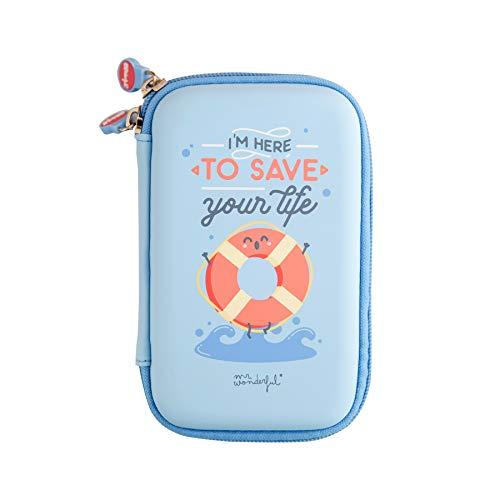 "Mr. Wonderful Estuche tecnológico con cremallera color Azul Cielo con diseño ""I´m Here To Save Your Life"""