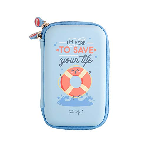 Mr Wonderful Funda Rígida de Disco Duro de 2,5'' Pulgadas - con Diseño I'm Here to Save Your Life, Azul y Turquesa