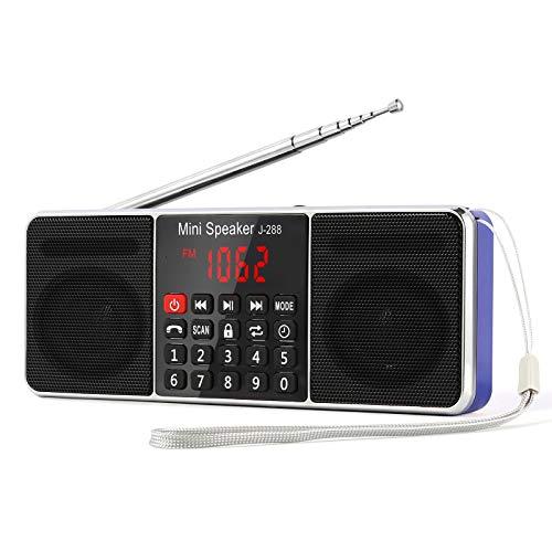 PRUNUS J-288 Radio portatil FM Am con Altavoz estereo Bluetooth, Temporizador de Apagado, estacion de Bloqueo, Tarjeta USB y TF y Reproductor de MP3 AUX, Azul