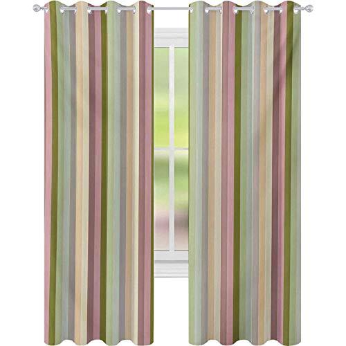 Cortinas opacas impresas, patrón colorido con bandas de colores pastel con ilustración abstracta alineada verticalmente, cortinas opacas W52 x L63 para habitación de niños, multicolor