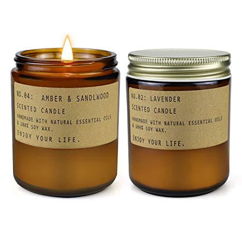 Duftkerzen für die Aromatherapie zu Hause, langlebige Sojakerzen, Entspannungskerzen, Geschenkset für Frauen, Lavendel & Bernstein & Sandelholz, 2er-Pack