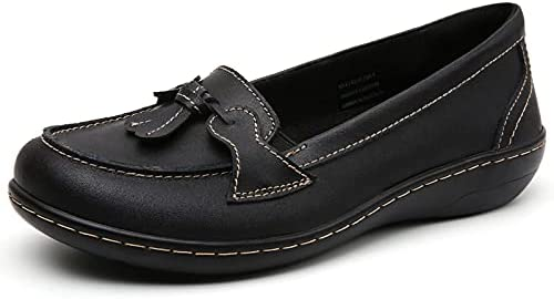 Loafer Flats Shoes for Women,Black Casual Slip-on Boat Shoes Comfort Flat Driving Walking Dressing and House Confortable Moccasins Soft Sole Leather Shoes (Black, Numeric_10)