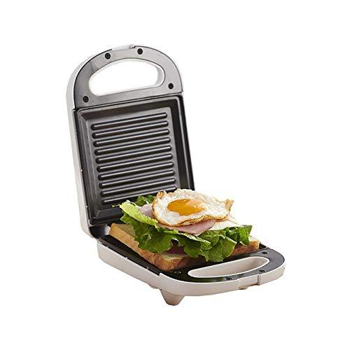 sandwichera, relleno profundo de tostadora, calefacción de doble cara, bandeja para hornear antiadherente, blanco 650W,