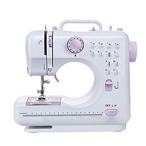 Máquina de coser -12 tipos de puntadas, pedal eléctrico de doble uso, función de patchwork, costura de botones, cremallera, costura cilíndrica, costura