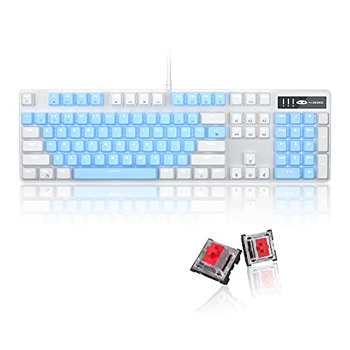 Mechanical Gaming Keyboard, 104 Keys White Backlit Mechanical Keyboards with Red Switches & an Extra Set of Keycaps, MageGee Wired Ergonomic Computer Keyboard for Desktop, PC Gamers (White & Blue)